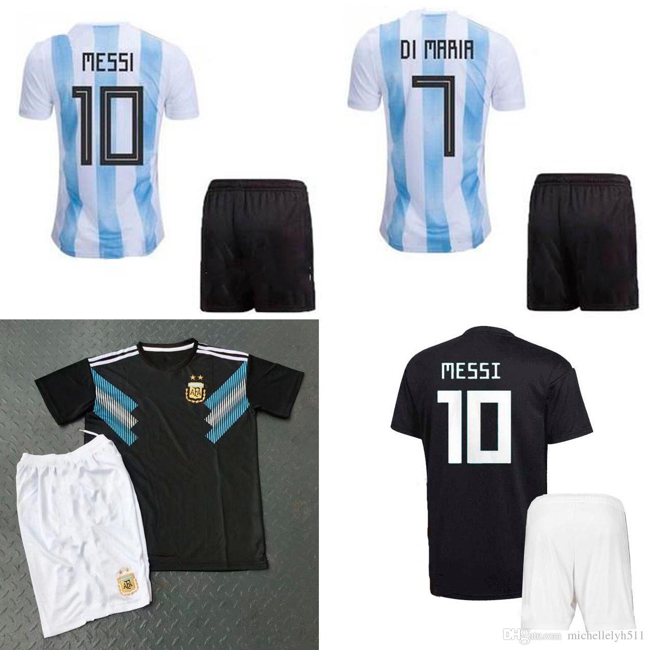 Compre 2018 Argentina Soccer Jersey Calções Messi DYBALA DI MARIA Kit De  Futebol Higuain Aguero 18 19 Argentina Casa Fora Conjuntos De Futebol  Uniformes ... ad47ea2b36d8d