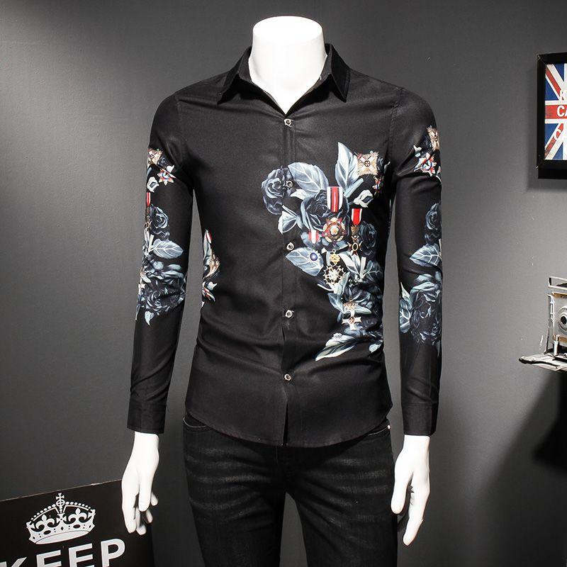 6fb0e419b25 Fashion Trend Black Flower Shirt Men 2018 Spring Floral Print Shirts Brand  Clothes Casual Business Hawaiian Long Sleeve Shirts