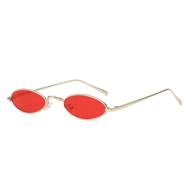 1fd02da4f07f8 Compre Iuooke Pequenos Óculos De Sol Ovais Para Homens Masculino Retro  Frame Do Metal Amarelo Vermelho Do Vintage Pequeno Rodada Óculos De Sol  Para As ...