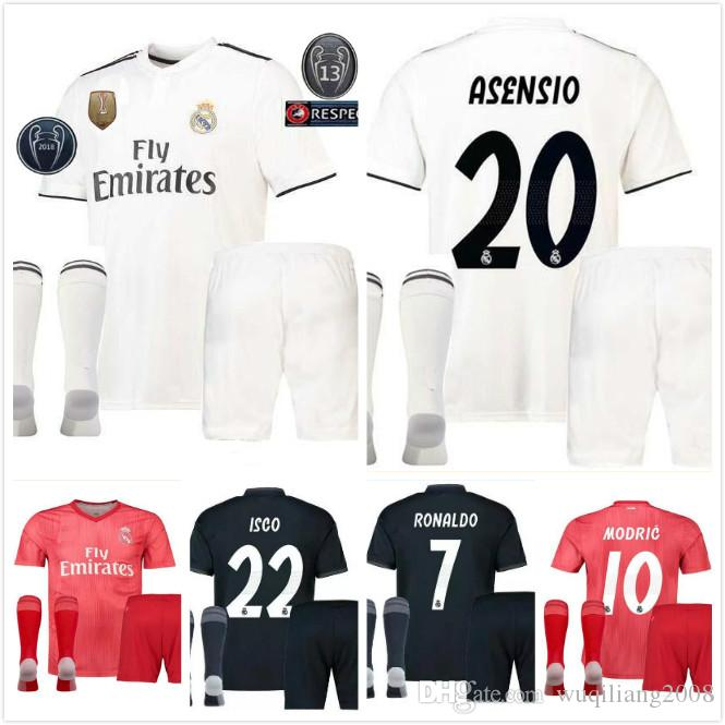 new concept 521df f2a92 men kit +sock 2018 Real Madrid RONALDO home Away soccer jersey 2018 2019  BENZEMA SERGIO RAMOS MORATA ISCO ASENSIO BALE football jersey shirt