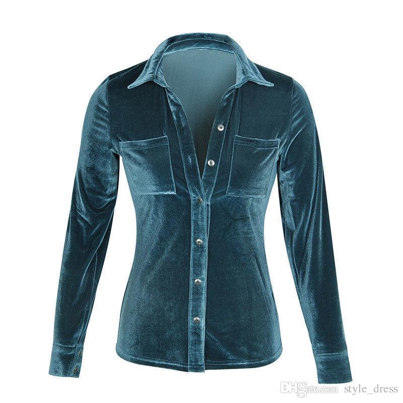 Camisa de terciopelo para mujer Camisa de manga larga con botón abotonado Blusa femenina Tops