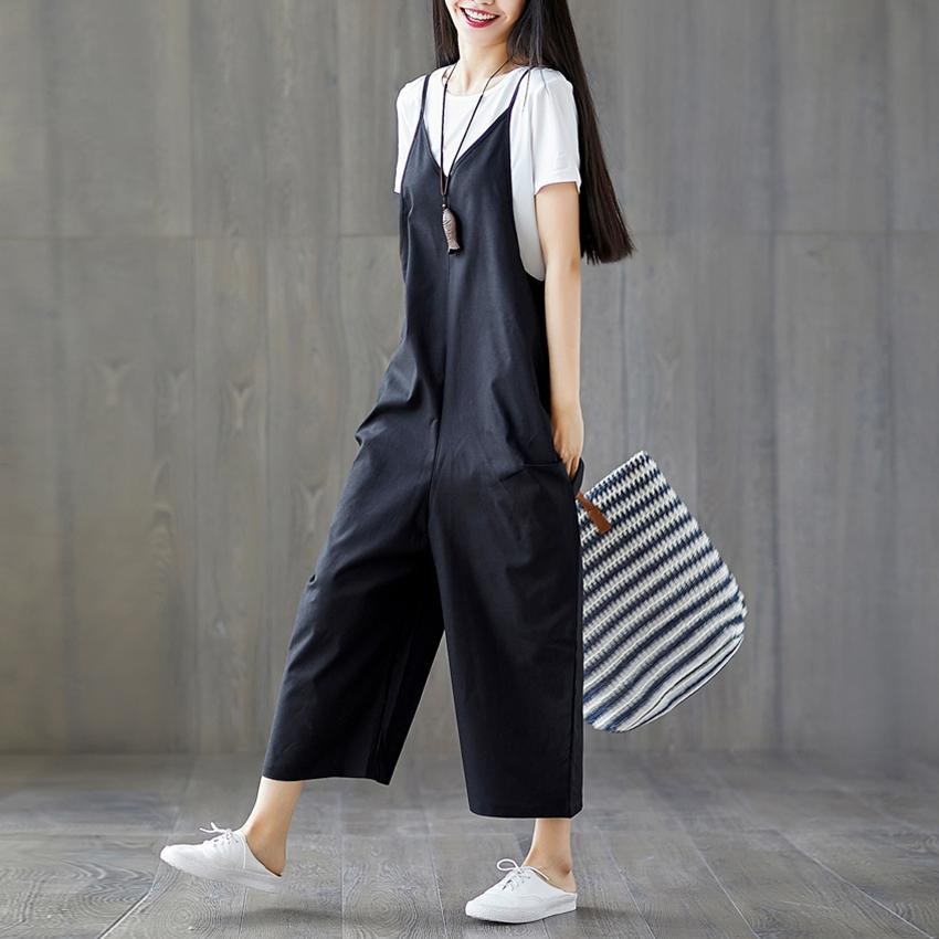f9ff7970ca0 2019 Womens Casual Loose Cotton And Linen Jumpsuit Band Bodysuit Overalls  Loose Preppy Style Harem Pants Rompers Womens Jumpsuit From Stripe
