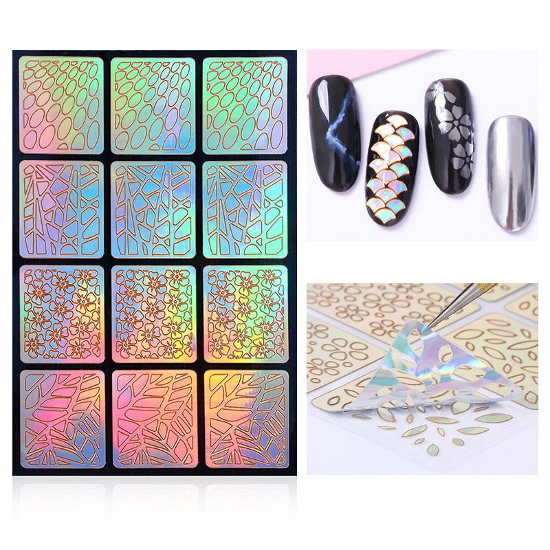 laser nail diy decal square hollow french style template nail