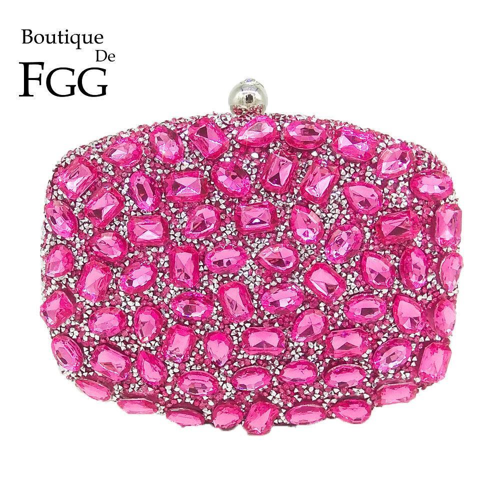 ca19952d5a Fuchsia Pink Diamond Crystal Women Evening Cocktail Party Clutches Bags  Wedding Dress Gold Handbag Purse Bridal Metal Clutch Bag Y18102403 Ladies  Bags ...