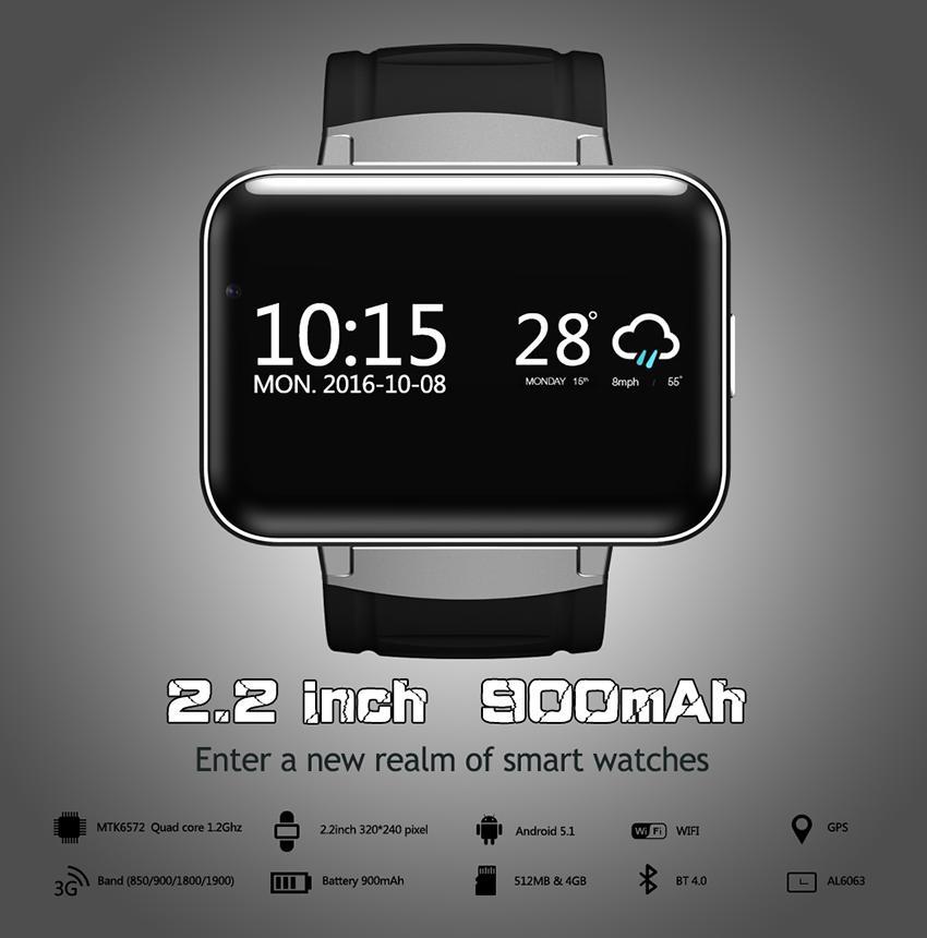 DM98 Smart Watch Fitness Tracker Reloj Android 4.4 Bluetooth 4.0 GPS WIFI 2.2