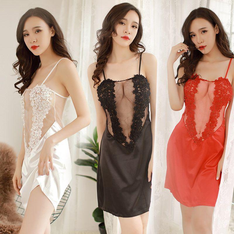1224683068 Red Black White Pink See Through Lace Bra Nightgowns Women Sexy Lingerie  Mesh Porn Slip Satin Sleep Night Dress Night Wear Gown S1011 Pajamas Pyjamas  ...
