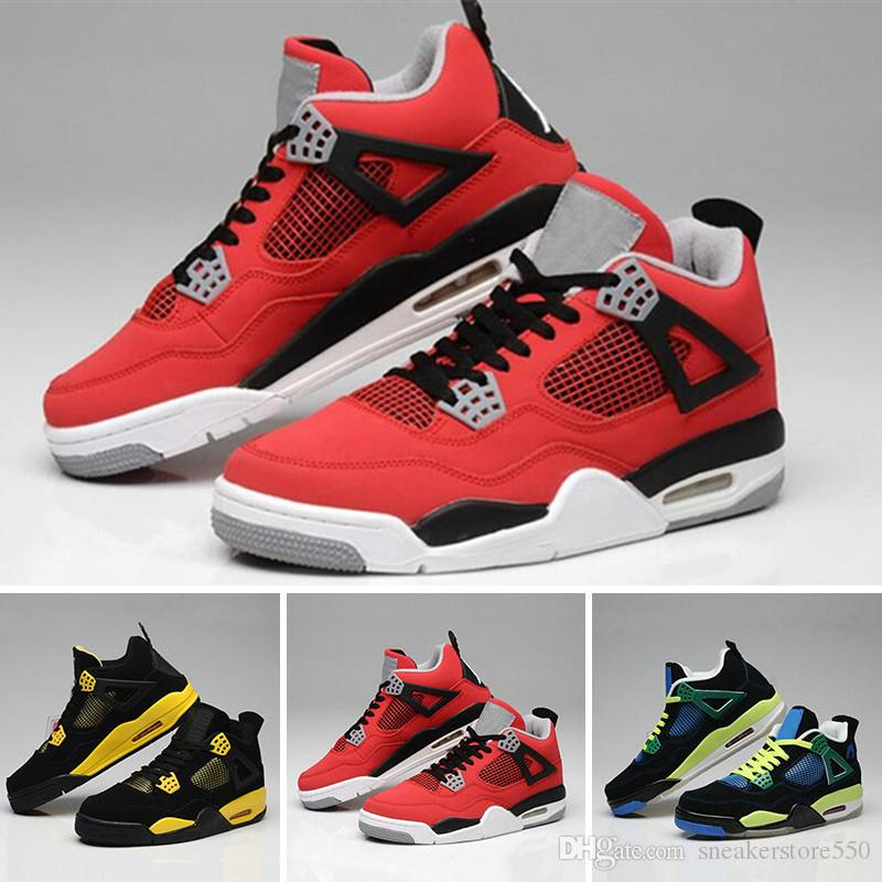 cheap for discount 77340 c5424 Acheter Nike Air Jordan 4 Aj4 Retro Gros 4 Blanc Ciment Bred Fire Rouge IV  4s Hommes Femmes Basketball Chaussures Baskets Baskets Sport TAILLE 36 47  De ...
