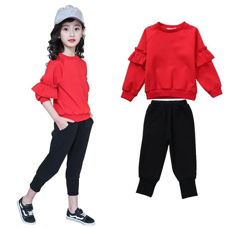 3349334b13db7 Girls clothing sets 2018 spring fleece Kids Sport Suits teenage girl  clothes school children clothes fashion girl s tracksuit