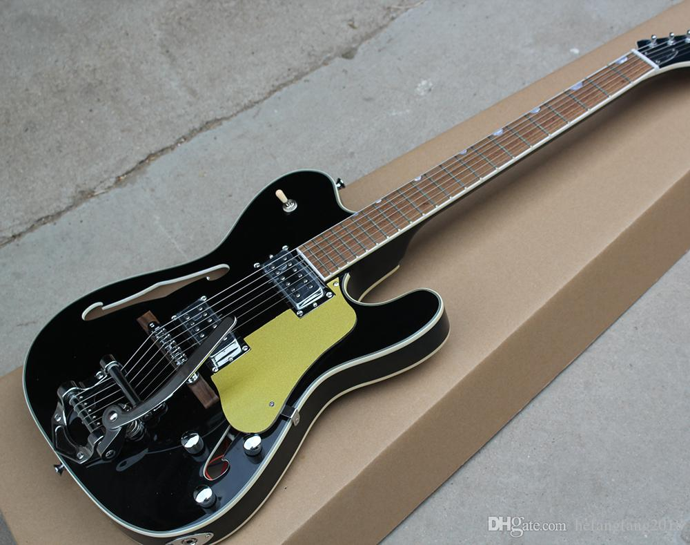 Factory Hot Semi hollow electric guitar rosewood with is black, or  pickguard, material of chrome, providing customized services
