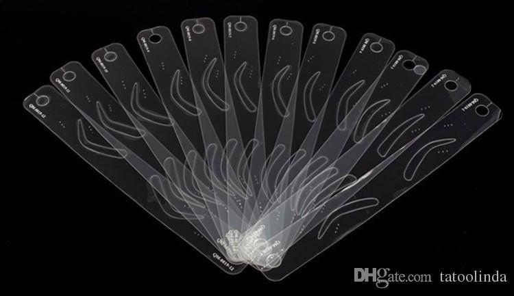 12 Plantilla de cejas diferente Plantilla de cejas mágicas Plantilla de cejas Maquillaje Herramienta de forma perfecta Cinturón de diseño de cejas
