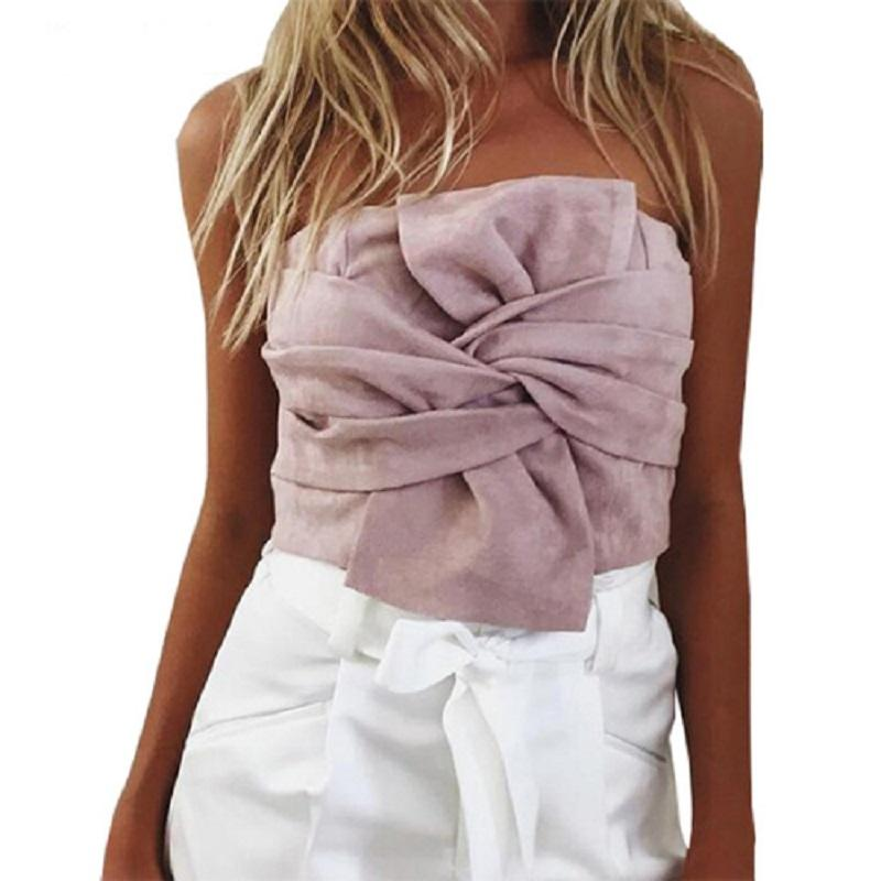 8837eee024d 2019 Naiveroo Summer Women Suede Crop Top Bow Front Slash Neck Sleeveless Tank  Top Zipper Bustier Cropped Tube Tops Blusa Pink Grey From Ladylbdcloth