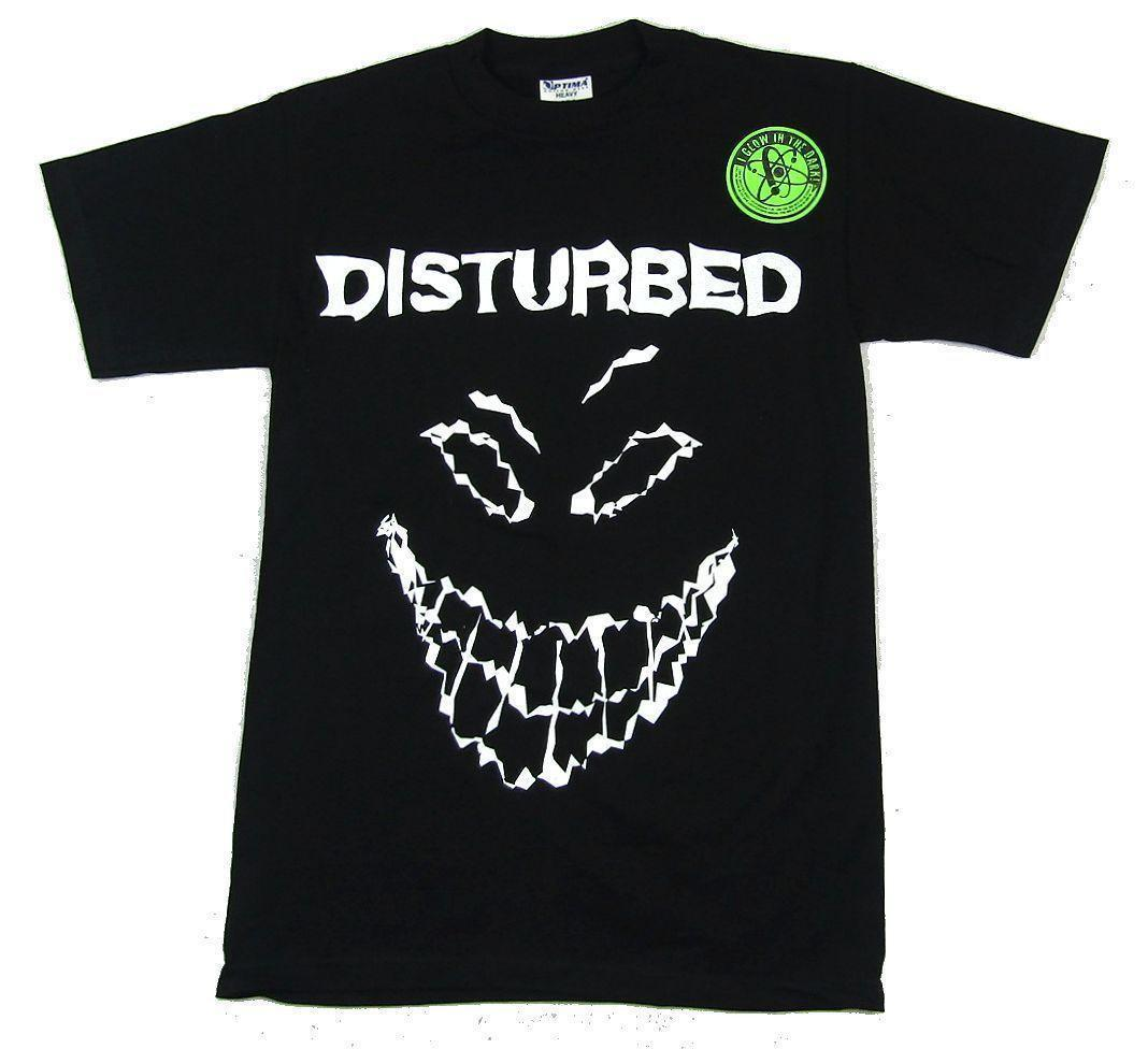 Disturbed Glow In The Dark Scary Guy Face Black T Shirt New Official