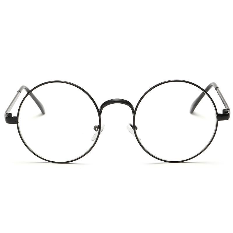 7f08b289140 2019 Plain Glasses Spectacle Vintage Unisex Glasses Frame Big Round Metal  Optical Frame For Men Women Reading From Bojiban
