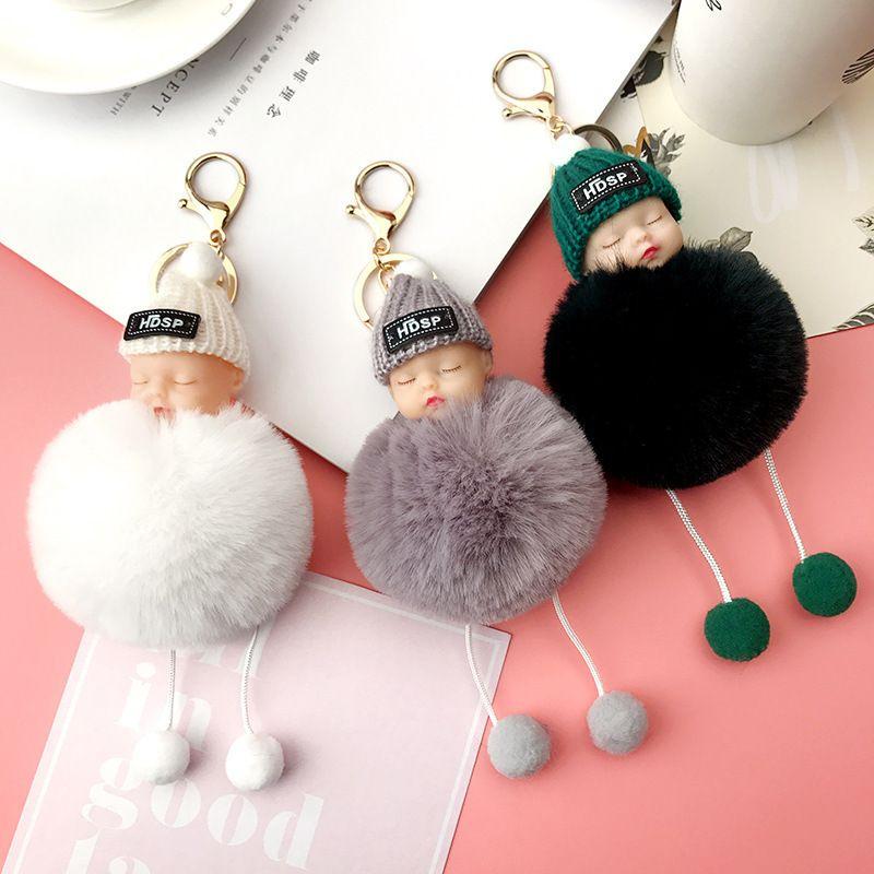 Cute Sleeping Baby Plush Doll Keychain Pompom Rabbit Fur Ball Key Chain Car Keyring  Women Key Holder Bag Pendant Charm Accessories Kids Gift Christmas ... ef82e5c9c4