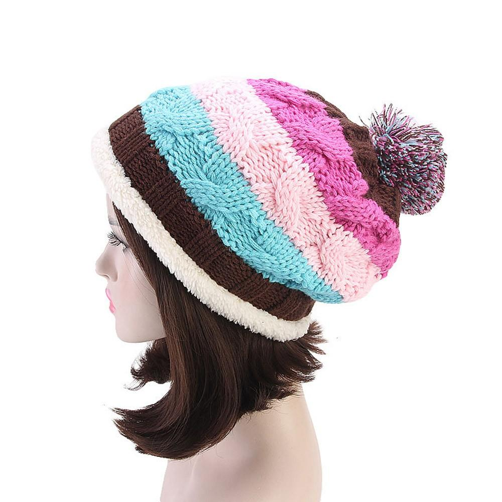 edb11cbb057 Women Soft Stretch Knit Rainbow Stripe Hat Warm Crochet Wool Ski Slouchy  Caps  4O03 Crochet Beanie Beanies For Girls From Lantana