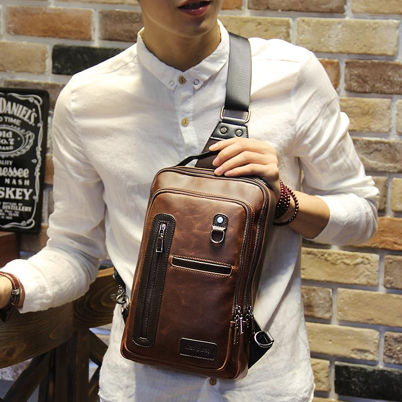 Crazy Horse PU Leather Men Backpack Vintage Male Students School Bags  Fashion Man One Shoulder Backpack Chest Bags Brown Vintage Womens Backpacks  Pink ... b23b88f66ee6d