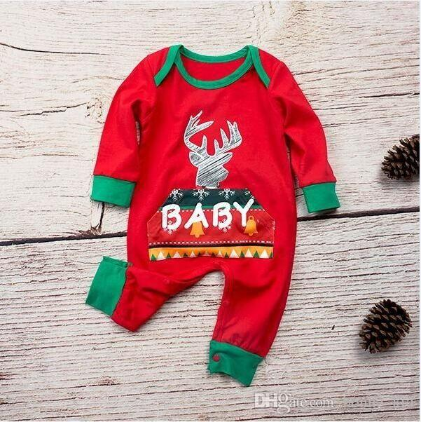 2018 Christmas Baby Girls Boys Reindeer Geometric Pajamas Clothes Long  Sleeve Red Green Bodysuit Romper Xmas Cute Baby Clothing 0 24M Footed  Pajamas For ... d3d63c69f
