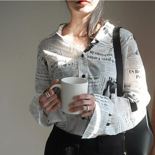 Womens Tops and Blouses 2018 Autumn Brand Design Newspaper Printed Long Sleeve Shirts Korean Fashion Clothing top femme T293
