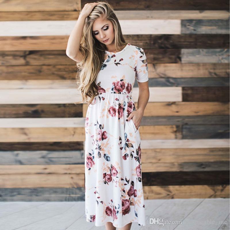 0a81293448a5c Satın Al Kadın Yaz Elbiseler 2018 Kısa Kollu Çiçek Baskılı Yüksek Elastik  Bel Orta Buzağı Uzunluğu Sevimli Vintage Pilili Parti Elbise Kadınlar, ...