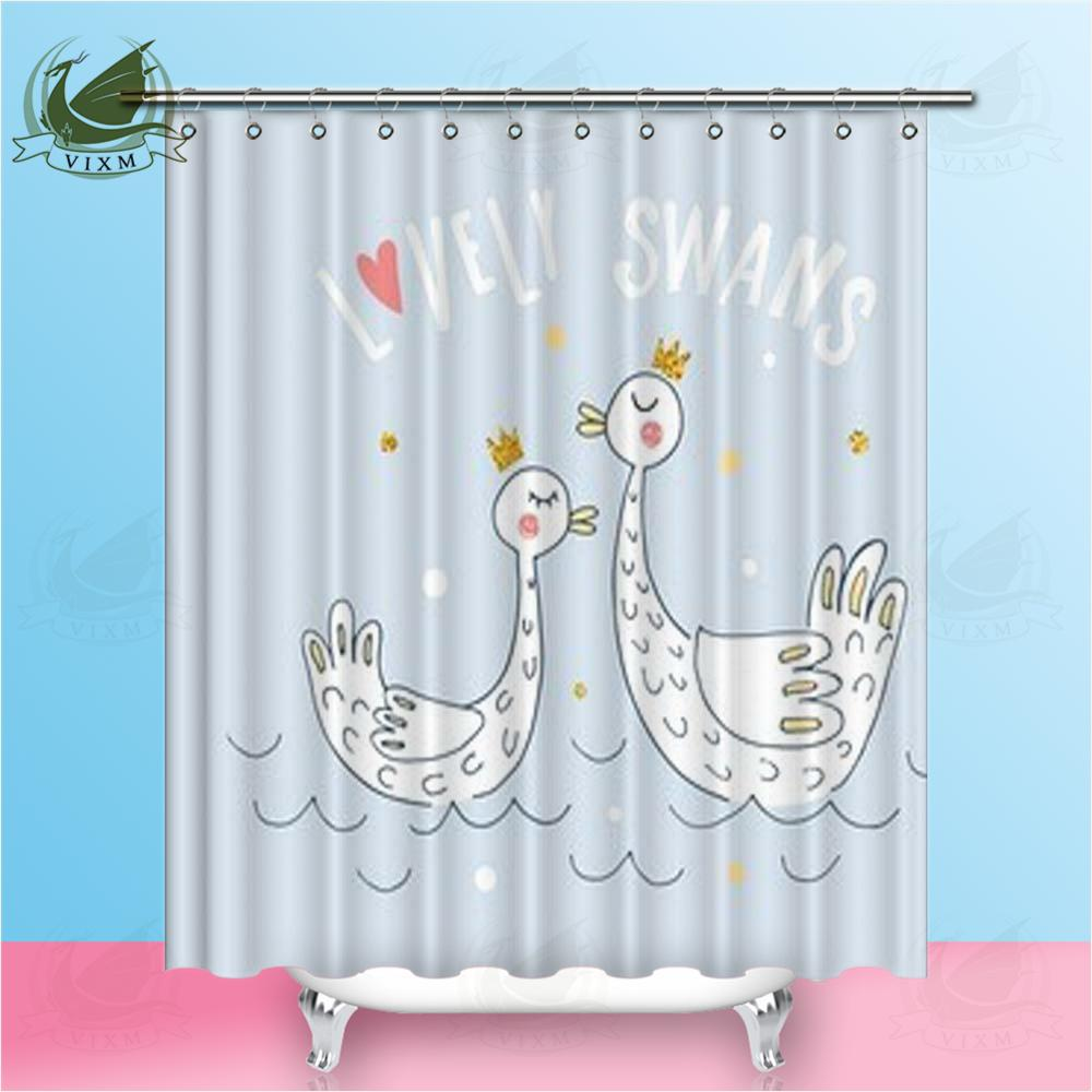 2019 Vixm Home White Swan Heart Reflex Shower Curtain Custom Waterproof Modern For Bathroom With Hooks Ring 72 X From Bestory 1665