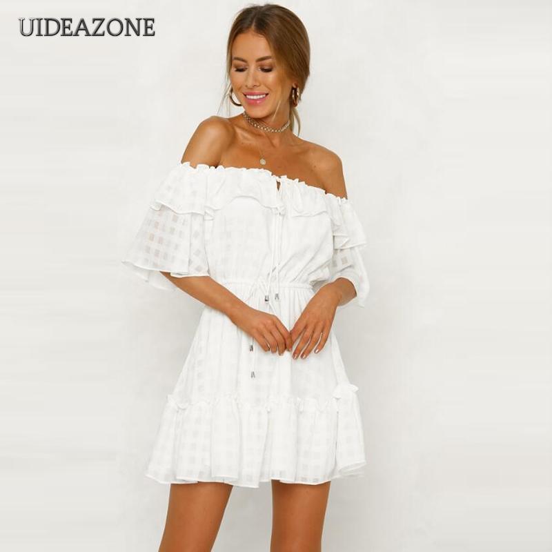 Großhandel Mini Schulterfrei Kleid Frauen Strapless Weiß Criss Sexy nOP0wk8