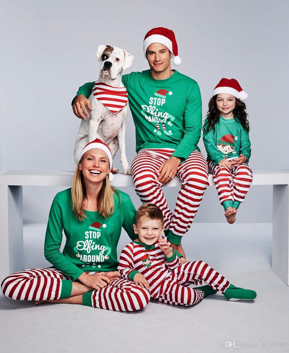 Compre Conjunto De Pijamas De Navidad Conjunto De Pijamas De Rayas