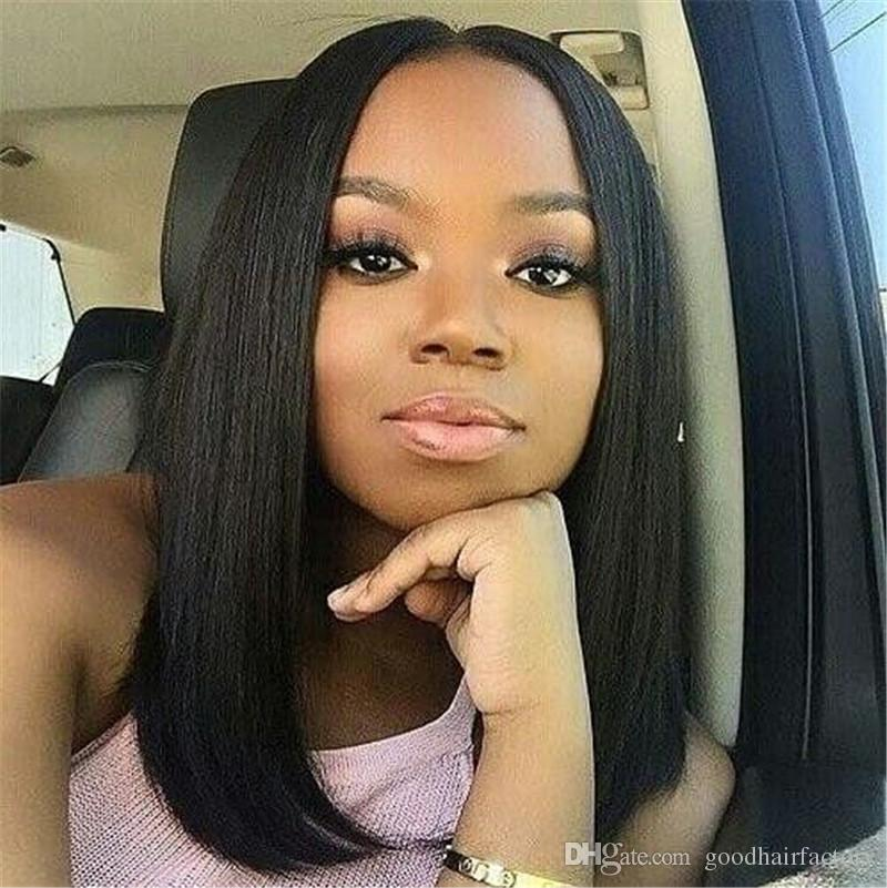 FULL Lace Front Bob Wigs For Black Women 130% Density Brazilian Virgin  Human Hair Weaves Straight Bob Medium Cap Middle Part Bob Wig Quality Human  Hair Wigs ... 735b31ed29