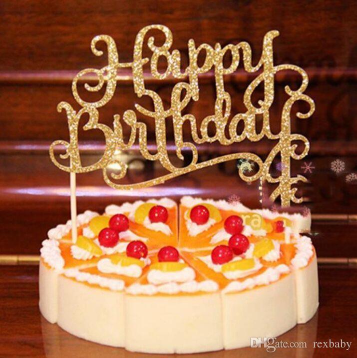 2019 Four Color Crystal Rhinestone Shiny Happy Birthday Cake Topper