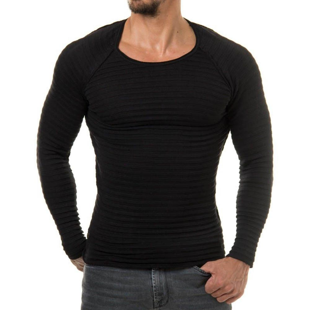 e79aac4f18 2019 Men S Casual Slim Fit Round Neck Plain Knitwear Jumper Pullover Basic  Sweater From Huoxiang
