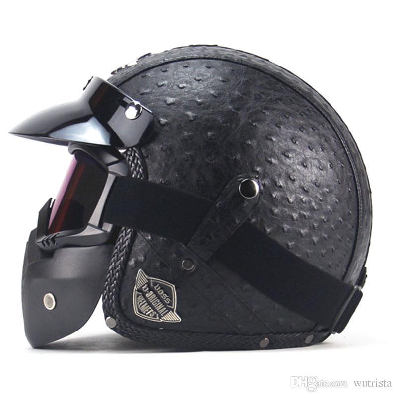 TKOSM Vintage 3/4 in pelle caschi casco del motociclo aperto del fronte Chopper casco della bici casco del motociclo Moto motocros Visor