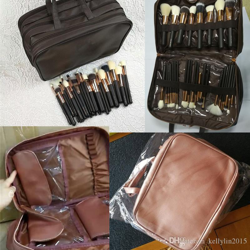 Professional Makeup brush Set kit 30pcs Coffee Rose gold Color Goat Hair Face Beauty Tool Multipurpose make up brushes with Cosmetic bag