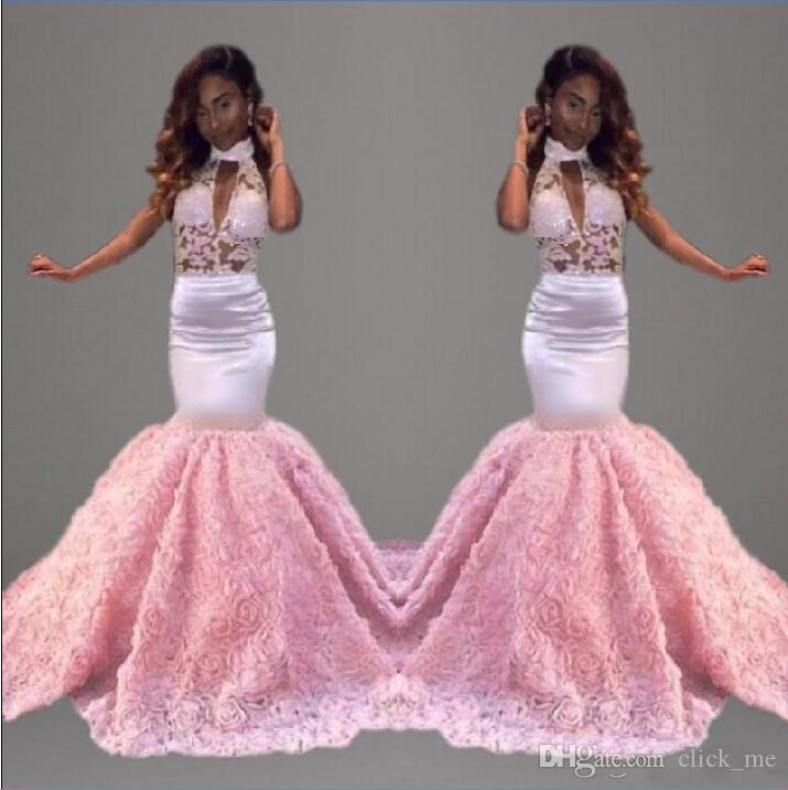 Sexy Pink African Prom Dresses Long High Neck Mermaid Evening Gowns ...