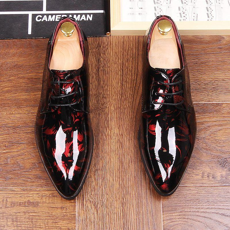 Shoes Autumn Mens Dress Pointed Toe Flowers Patent Leather Wedding Party Oxfords Shoes Lace Up Red Blue Green Male Fashion Oxfords