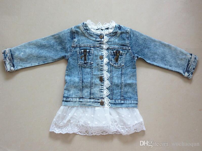 2018 sıcak satmak Bebek kız Moda Rahat dantel denim Ceketler Kızlar Sevimli Üstleri Çocuk Giyim Çocuklar dantel Denim Mont Çocuk Ceket