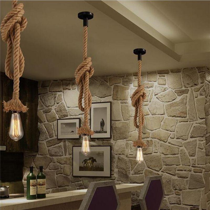 Vintage Rope LED Pendant Lights E27 Industrial Loft Rope Ceiling ...