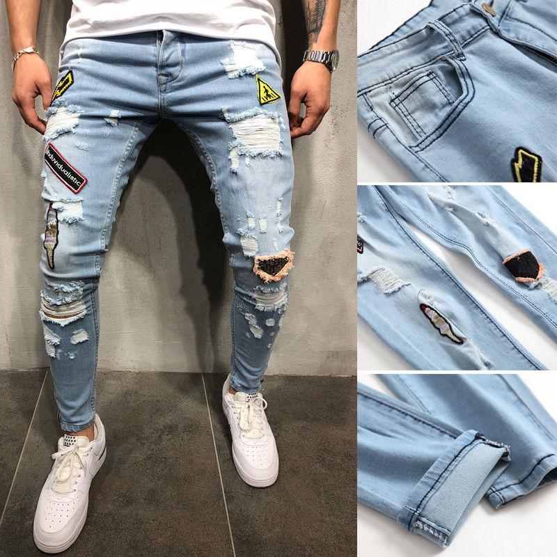 efbf972b364 Compre Marca Nova Moda Masculina Afligida Jeans Rasgado Azul Denim Calças  Slim Skinny Fit Calças De Stepheen
