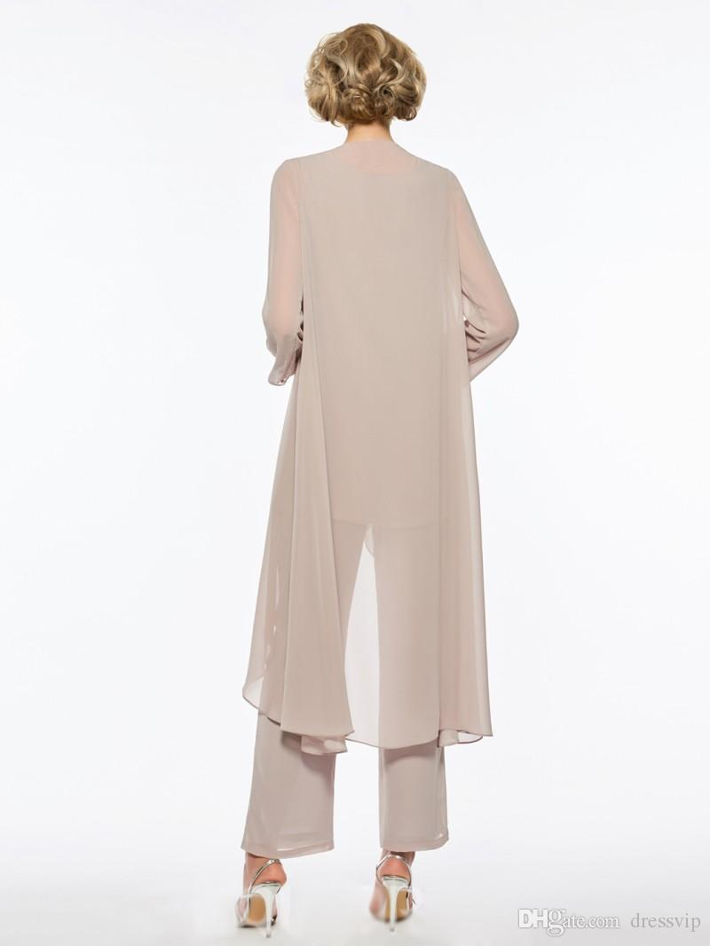 Plus Size Mother Of The Bride Pant Suit Chiffon for Beach Wedding Dress Mother's Dress Long Sleeves Cheap Mothers Formal Gown