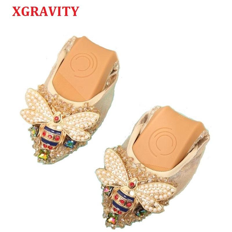 XGRAVITY Plus Size Designer Crystal Woman Flat Shoes Elegant Comfortable Lady Fashion Rhinestone Women Soft Bees Shoes A031-1