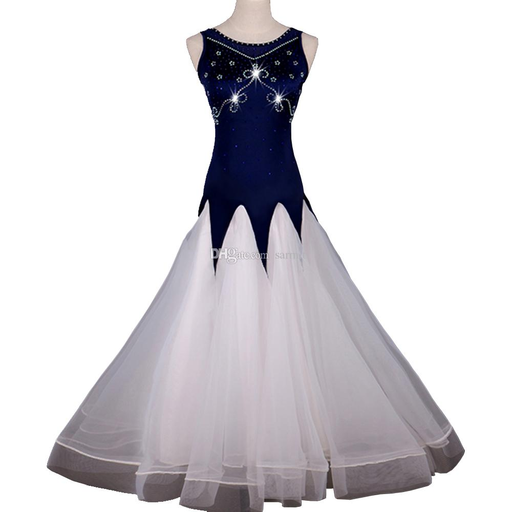 Ballroom Waltz Dresses Dancing Outfits Ballroom Competition Dress Tango Dance Costumes D0985 Rhinestones Big Sheer Hem