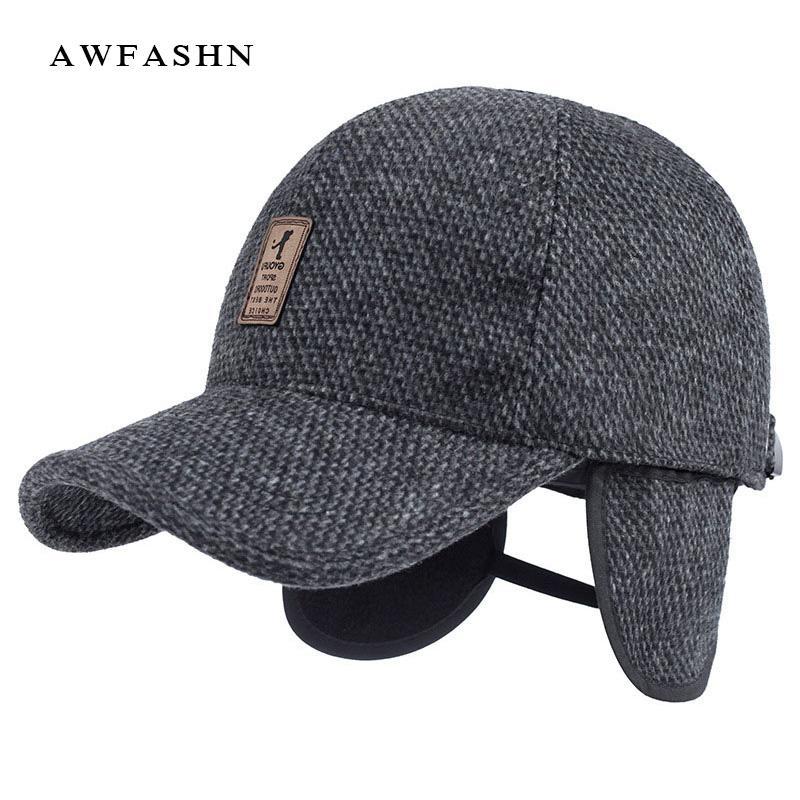 2018 New Protection Ear Baseball Cap Winter Hat Warm Man Woman Wool  Knitting Dad Ski Vintage Solid Trucker Bone Outdoor Earmuffs Baseball Caps  Custom Hats ... c791515bd10