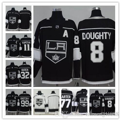 ce6ff55a8 2019 2018 Los Angeles Kings Hockey Jerseys 11 Anze Kopitar 32 Jonathan  Quick 8 Drew Doughty 77 Jeff Carter 99 Wayne Gretzky Stitched Black Jersey  From ...