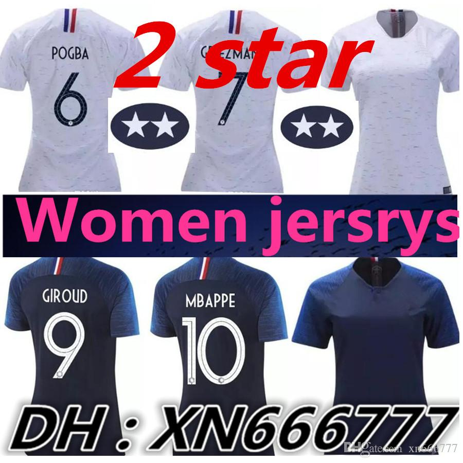 2 Star Women World Cup 2018 Griezmann Mbappe Pogba Soccer Jerseys Futbol  Camisa Francia Football Camisetas Shirt Kit Maillot UK 2019 From Xn666777 c1ddad1a49