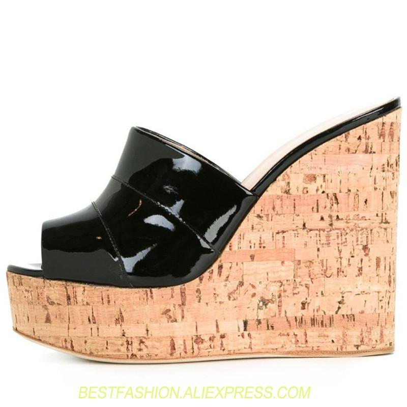 Patent Leather Cork Wedge Sandals Peep Toe Super High Heels Platforms Shoes  Ladies Summer High Heel BIG SIZE 46 Slides Women Mid Calf Boots Leather  Boots ...