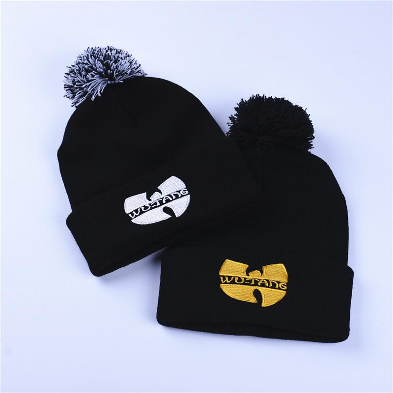 f97a192e1 Fashion Winter Wutang Letter WU-TANG CLAN Musice Beanie Skullies Knitted  Women Wu Tang Hat HipHop Winter Warm pompom Hats Caps