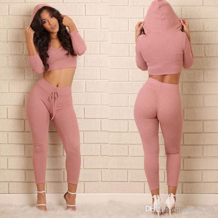 2018 primavera estate autunno donne puro colore abiti sexy slash collo manica lunga crop top stretto pantaloni lunghi lavorato a maglia alta moda lady suit