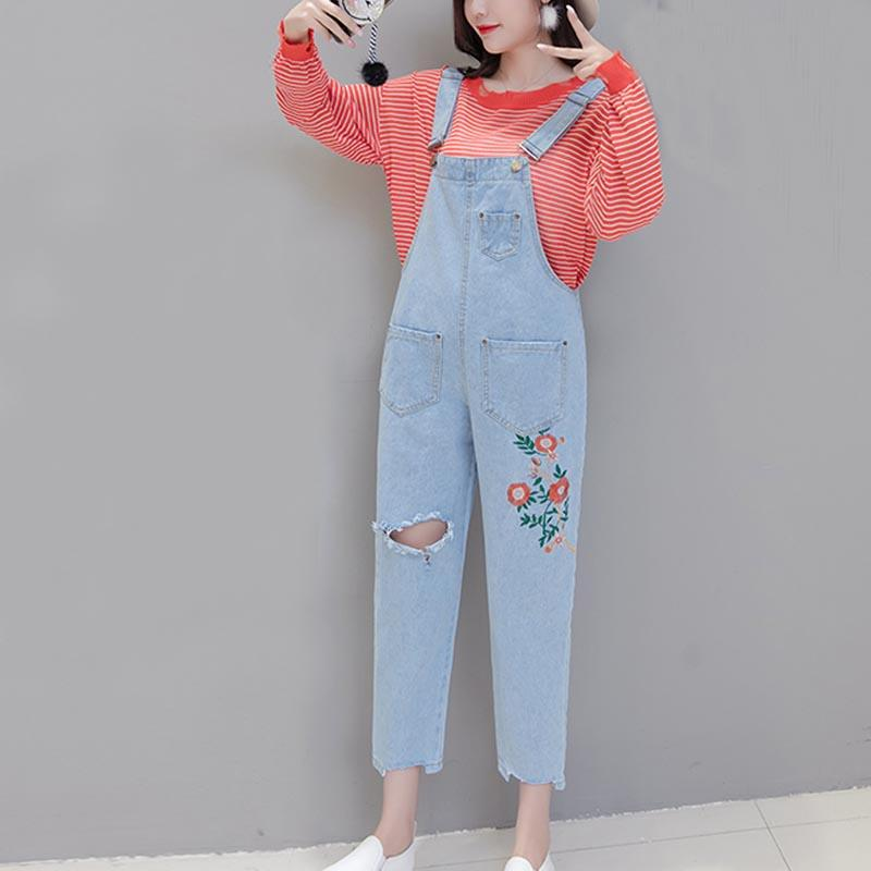 d70d5350ec55 2019 Women Denim Jumpsuits Pants Embroidery Flower Jeans Basic Denim  Rompers Overalls Casual Wide Leg Trousers Vintage Ripped Jeans From  Yigu110