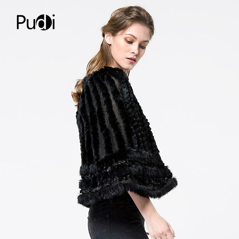 Pudi CK710 The new women poncho Real Knitted hooded rabbit fur shawl poncho stole cape scarf wrap black