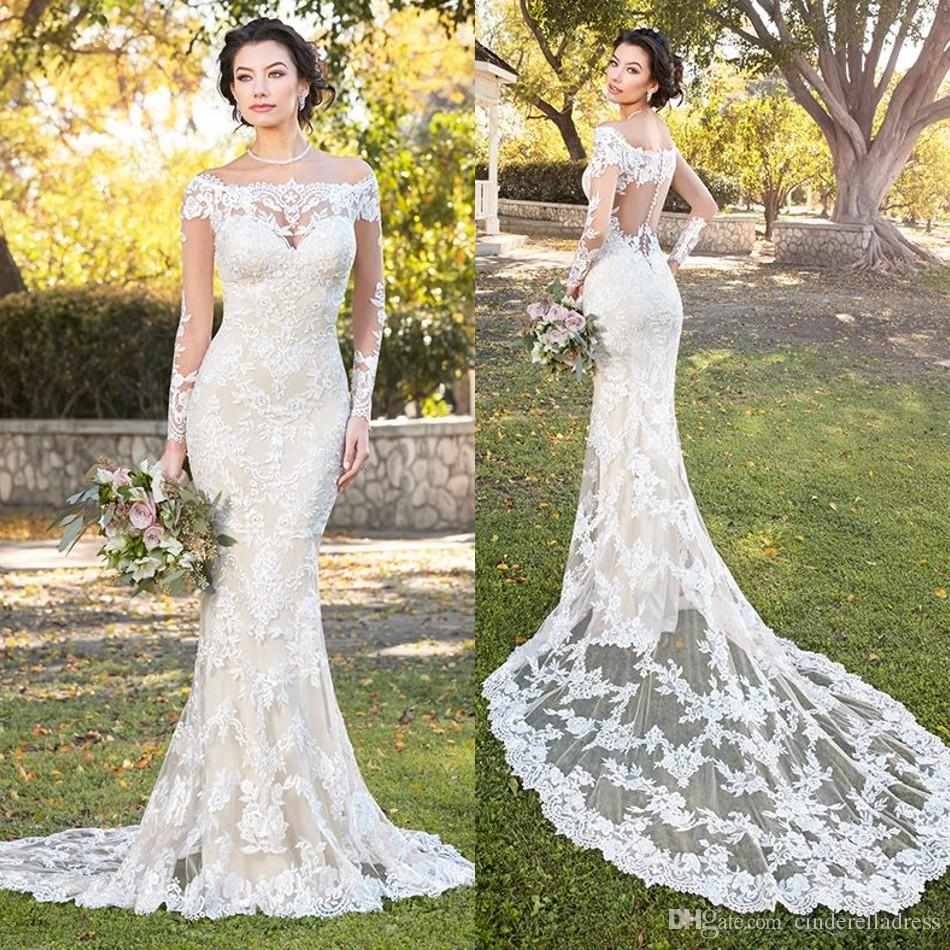 2018 Designer Kitty Chen Off Shoulder Wedding Dresses Long Sleeves ...
