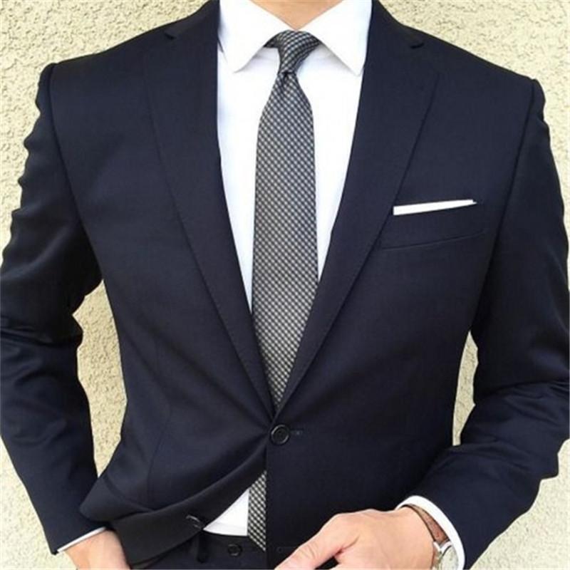 timeless design c158a 3fe76 Acheter Mariage Casual Bleu Marine Deux Boutons Hommes Costume Tuxedos  Masculino 2 Pièces Veste + Pantalon + Cravate Été Slim Fit Meilleur Homme  Costume De ...