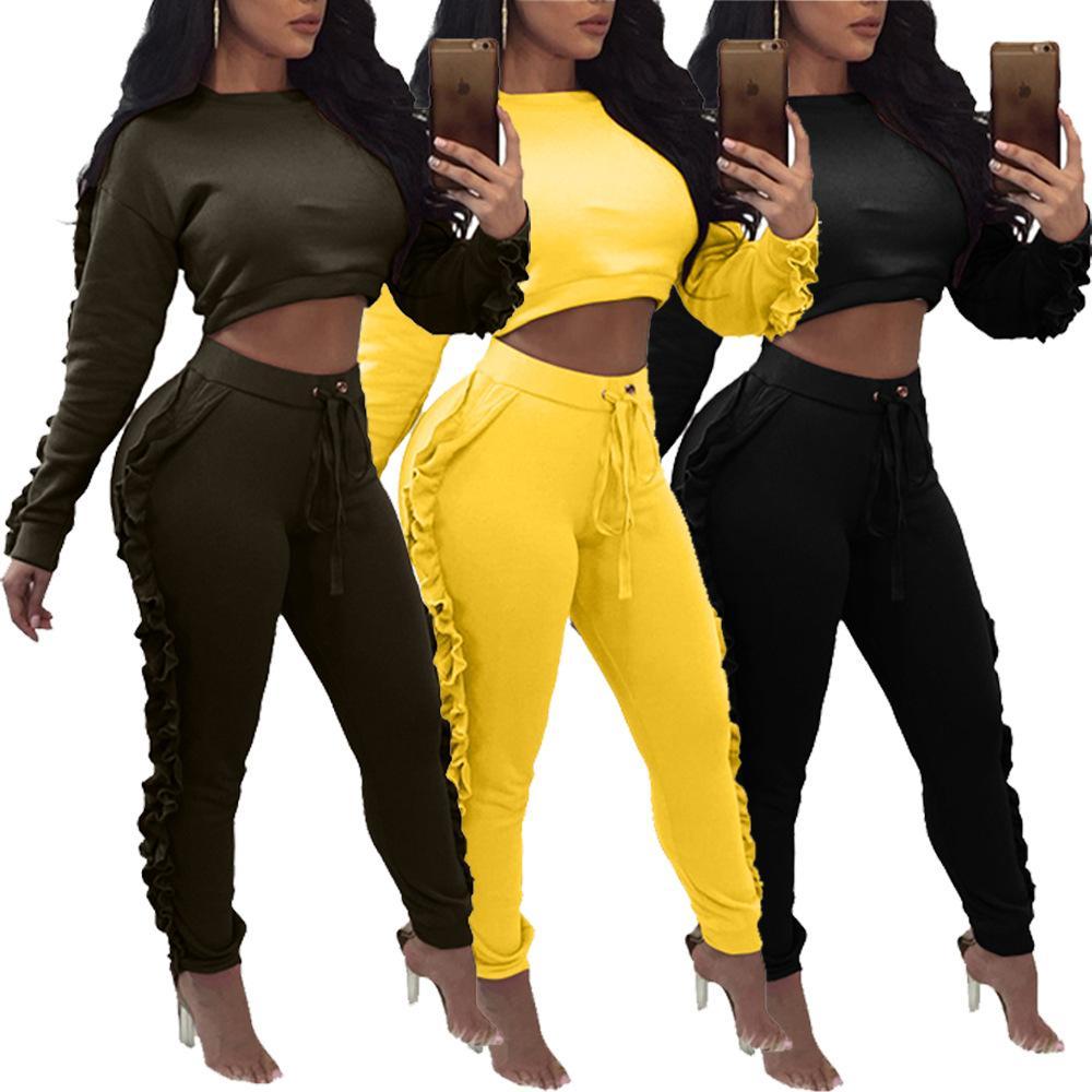 Compre Mujeres Moda Chándal Manga Larga Crop Tops + Pants 2 Piezas Mujer  Conjunto Traje Chándales De Color Sólido Sudaderas Ropa Ropa A  17.59 Del  Hengda999 ... d153af30a6629